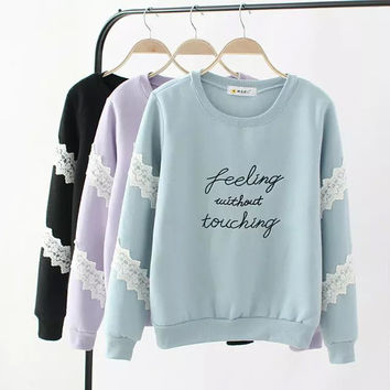 Letter Print Embroidered Lace Sweater