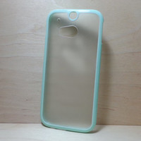 HTC One M8 Case Silicone Bumper and Translucent Frosted Hard Plastic Back - Mint Green
