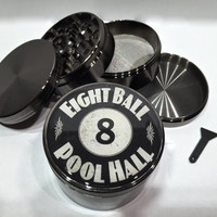 """Eight Ball Pool Hall 4 Piece Silver Alumium Grinder 2.5"""" Wide Herb 8 Game"""