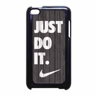 Nike Just Do It Wood Colored Darkwood Wooden iPod Touch 4th Generation Case