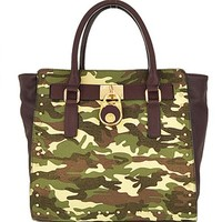 Military Camouflage Trendy Handbag w/ Lock Accent Camo Purse Green