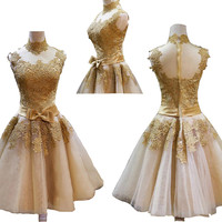 Golden Vintage Princess High Neck Short Prom Dresses Retro Short Lace Cocktail Party Dress Bow Know Waist Band Masquerade Dress