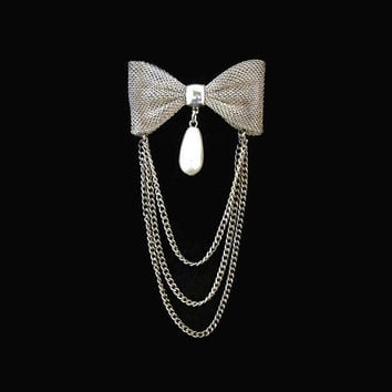 Mesh Bow Brooch Pin With Chain and Teardrop Faux Pearl Dangle In Silver Tone