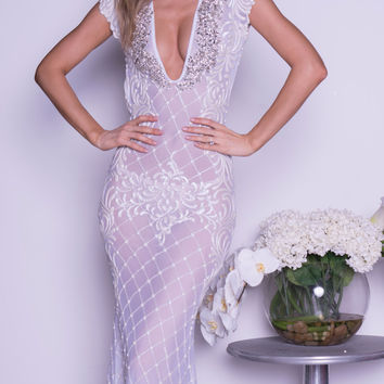 EVY GOWN IN WHITE WITH CRYSTALS
