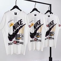 NIKE New fashion letter hook print couple top t-shirt White