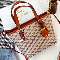 MK Fashion New More Letter Canvas Leather Shopping Leisure Crossbody Bag Handbag Shoulder Bag Brown