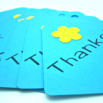 Thanks Tags in Bright Blue  set of 15  HANDMADE by the by justByou