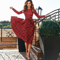 Red Plaid Bow Knot Dress