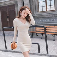 Dress Long Sleeve Deep V Neck Slim Pullover Clothing 11 Colors Knitted Cotton Skinny Dresses