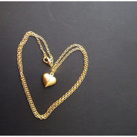 Gold Heart Necklace - Forever In Love Jewelry Charm Necklace Bridal maid Gift