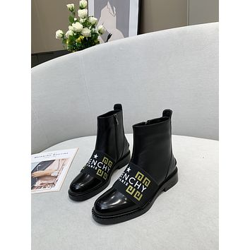 Givenchy  Trending Women's men Leather Side Zip Lace-up Ankle Boots Shoes High Boots