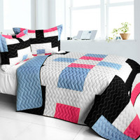 Wonderful Date Day 3PC Vermicelli Quilted Patchwork Quilt Set in Full/Queen Size