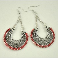 Carved Rope Wrap Big Circle Earrings For Women