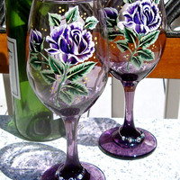 Hand Painted Purple Wine Glasses With Free Wine Glass Charms, Ready To Personalize Glasses