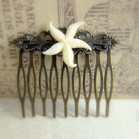 Starfish Hair Comb Ivory Hair Comb Beach Wedding Comb Outdoor Garden Bridal Hair Piece Head Piece Vintage Inspired Cottage Shabby Chic Comb
