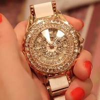 Fashion watch luxury Rose gold crystal diamond bracelet watches Ceramic Strap dress watch women