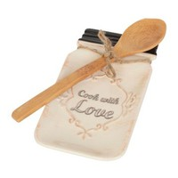 Cook with Love Ceramic Spoon Rest with Spoon