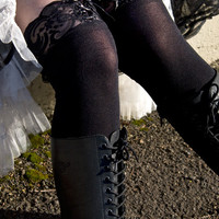 Socks by Sock Dreams » Socks Special Collections » Lace » Opaque OTK with Corset Lace Top