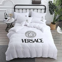 White VERSACE Home Blanket Quilt coverlet 2 Pillows Shams 4 PC Bedding Set