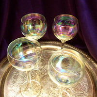 Iridescent Long Stemmed Crystal Wine Glasses, Hand Blown Bubble Glasses, MCM Barware, Set of Four Delicate Stemmed Glasses,