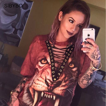 T Shirt Women 2017 New Fashion  Punk Rock Design Fashion Animal  Print Halloween Lace Up Women Top Shirts Women Tops