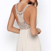 Line in the Sand Beige Romper