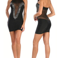Little Black Mini Dress With Rhinestone Adornment