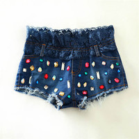 Blue Sequined Lace Trimmed Denim Shorts