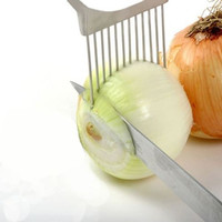 Newest !!! Stainless Steel Onion Slicer Vegetable Tomato Holder Cutter Kitchen Tools Gadget 2016 Kitchen Gift