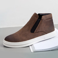 New 2016 Vintage Leather Men Boots Chelsea Boots for Casual Walking Leisure Platforms Warm Winter Shoes Ankle Martins Fall Flats