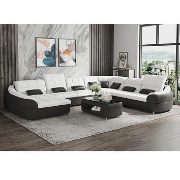 Modern Sectional Leather Sofa With Chaise
