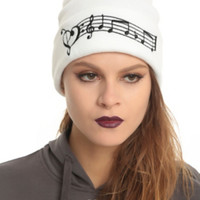 Music Clef Heart Notes Watchman Beanie
