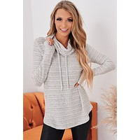 I'll Love You Forever Cowl Neck Top (Ivory Charcoal)