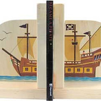 Pirate Ship Wooden Bookends