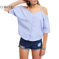 COLROVE Off The Shoulder Vertical Striped Ladies Shirt Summer Style New Arrival 2016 Women Tops Cute Short Sleeve Cami Blouse