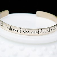 She Believed She Could So She Did Gold Bracelet - Inspirational Saying Gold Cuff Bracelet - Graduation Gift for Her Bracelet- Personalized