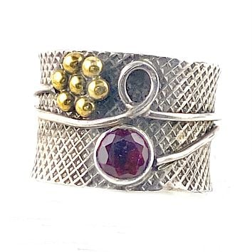 "Garnet ""Garden"" Two Tone Sterling Silver Band Ring"