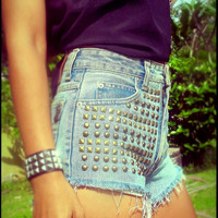 Vintage high waisted studded denim cut off jean short by Jeansonly