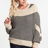 Plus Size Chunky Knit Striped Sweater - Natural