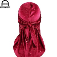 New Luxury Men's Shiny Velvet Durags Turban Bandana Headband Men Durag Biker Headwear Hat Hair Accessories