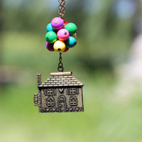 Flying house necklace,flying dream necklace, beadwork necklace, up movie imagine, colorful balloons necklace