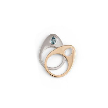Engagement Stacking Rings with Aquamarine Yellow and White Gold