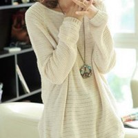 Beige Loose Bat Hollow Sweaters