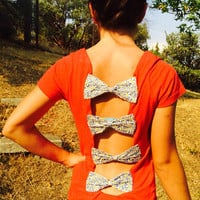 Handmade Cut T-Shirt with bow back