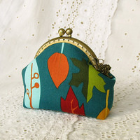 Coin purse - Dark turquoise and leaves  - Cotton fabric with metal frame