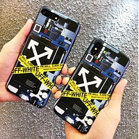 Off White New fashion letter arrow print couple protective cover phone case
