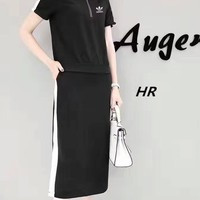 """""""Adidas"""" Summer Fashion Casual Multicolor Short Sleeve Tops Long Skirt Set Two-Piece"""