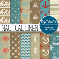 """Nautical linen digital paper """"Nautical Linen"""" clipart papers in blue red white, digital scrapbook paper, sea life patterns, linen background"""