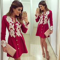 2016 NEW fahion summer women dress casual red V-neck long sleeved dress white lace patchwork mini dresses button vestidos