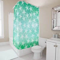 Beach Shower Curtain - Watercolor Starfish Teal